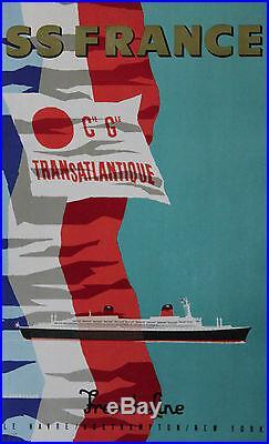 SS FRANCE / Cie Gle TRANSATLANTIQUE Affiche originale entoilée (J. JACQUELIN)