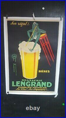 SUPERBE ET AMUSANTE AFFICHE BIERE LENGRAND GRENOUILLE BUVANT ANNEES 1925 env
