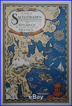 SWEDEN carte de Saltsjöbaden CARTE ORIGINALE années 50 /R492