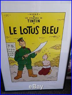 Sérigraphie Tintin Le Lotus Bleu, Signée Narès