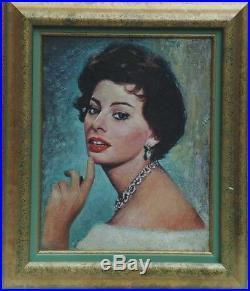 Sophia LOREN Peinture gouache sur bois originale encadrée P. SCOYEN 1958