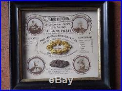 Souvenir siege de paris 1870, TABLEAU PRIX DENREES, ECHANTILLON PAIN RARISSIME