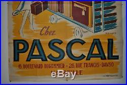 Splendide affiche ancienne Bagage Pascal, avion air france, top état