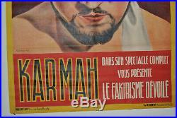 Splendide affiche ancienne Karmah cirque, Fakir top état