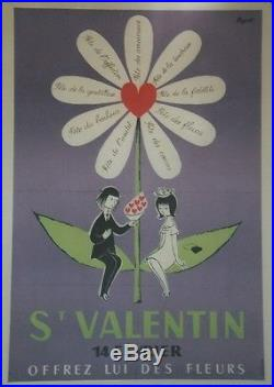 St VALENTIN Affiche originale entoilée Offset années 60 PEYNET 44x64cm