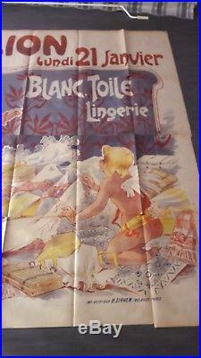 Superbe Affiche Lingerie Blanc Femmes Misti Paris