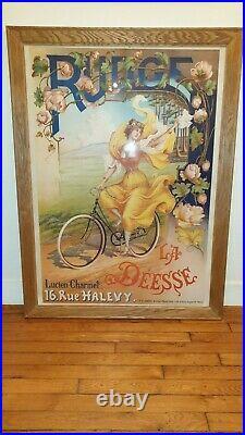 Superbe Affiche Originale Velo Ancien Cycles Rudge La Deesse