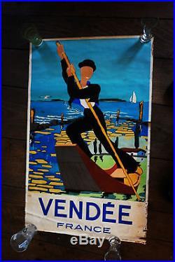 Superbe affiche de 1964 signée Guillemet pour la Vendée rare et magnifique
