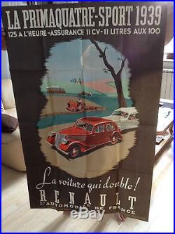 Superbe ancienne affiche Renault La Primaquatre-sport 1939