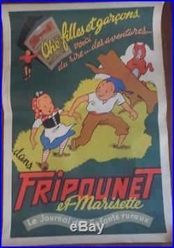 Sylvain et Sylvette Fripounet Affiche publicitaire ancienne