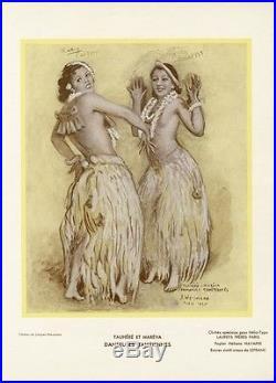 TAUHERE et MAREVA DANSEUSES TAHITIENNES Spécimen orig. Entoilé J. WEISMANN