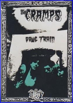 THE CRAMPS / DRUG TRAIN Affiche U. K. Originale entoilée 1980 61x85cm
