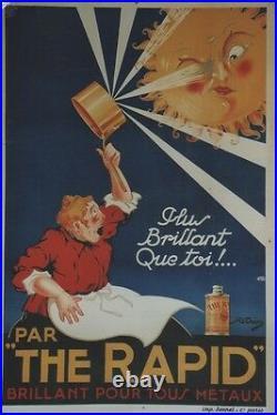 THE RAPID Affiche originale entoilée Litho R. DION vers 1920 84x123cm