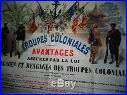 TRES BELLE AFFICHE TROUPES COLONIALES ANCIENNE DE GEORGES SCOTT 1908  ref 59