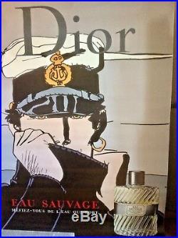 TRES RARE AFFICHE Originale CORTO MALTESE by DIOR Eau Sauvage 118X168 2001
