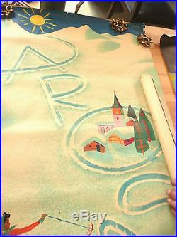 TRES Rare 1956 affiche /vintage poster station ski AROSA Suisse Donald BRUN