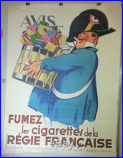Tabac cigarettes Affiche ancienne René Vincent/french tobacco vintage poster