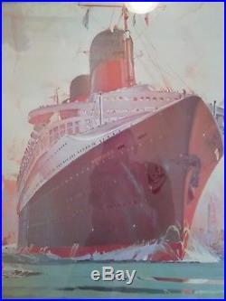 Tableau d'agence Compagne générale transatlantique Paquebot NORMANDIE Marin Mari