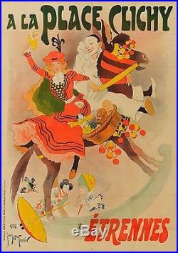 Tes Belle Affiche Ancienne 1896 Etrennes Place CLICHY par G Meunier entoilée
