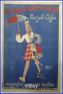 Textile LE VIEUX VAUT LE NEUF MAM'ZELLE CHIFFON AFFICHE ANCIENNE ORIGINALE /R57