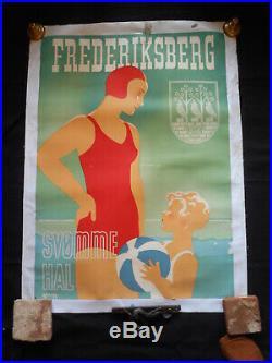 Thor Bogelund Jensen Affiche originale entoilée Frederiksberg 1938
