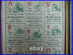 Toros En Madrid Tio Pepe Affiche Destinee Aux Bodegas Imp. Sur Soie 1952 Corridas