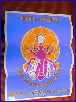 Très belle affiche ancienne MIEL APICULTURE ABEILLE ANNÉE 1940 / 1950