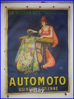 Tres rare affiche ancienne entoilee automoto par Mich machine a coudre