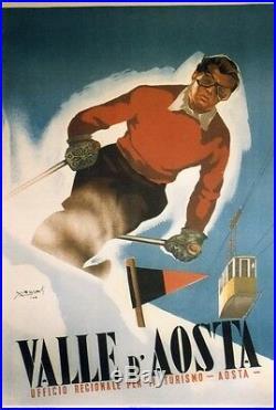 VALLE D'AOSTA Affiche entoilée typo vers 1960 d'après MUSATI 73x102cm