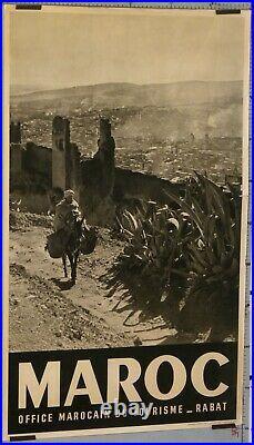 VINTAGE TRAVEL POSTER MAROC OFFICE MAROCAIN DU TOURISME RABAT ci 1950