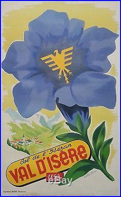 Val d'Isère Alpes 3 affiches anciennes/skiing travel original posters 1955-57