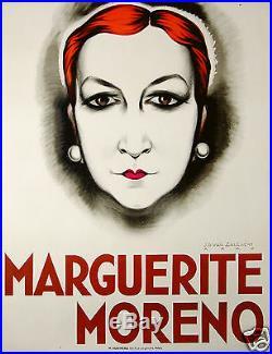 Van Caulaert Affiche Ancienne L'actrice Marguerite Moreno CI 1925