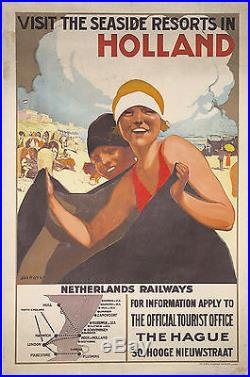 Visit the seaside resorts in Holland- Affiche originale lithographique