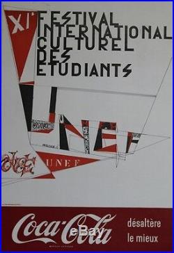 XI° FESTIVAL DES ETUDIANTS UNEF 1963 / COCA-COLA Affiche originale entoilée