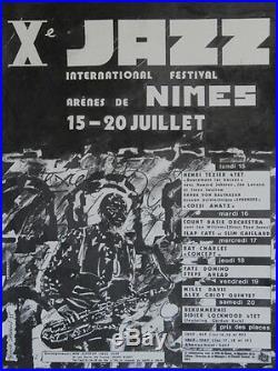 Xe JAZZ FESTIVAL de NIMES 1985 Affiche originale entoilée de Gérard SAURIN
